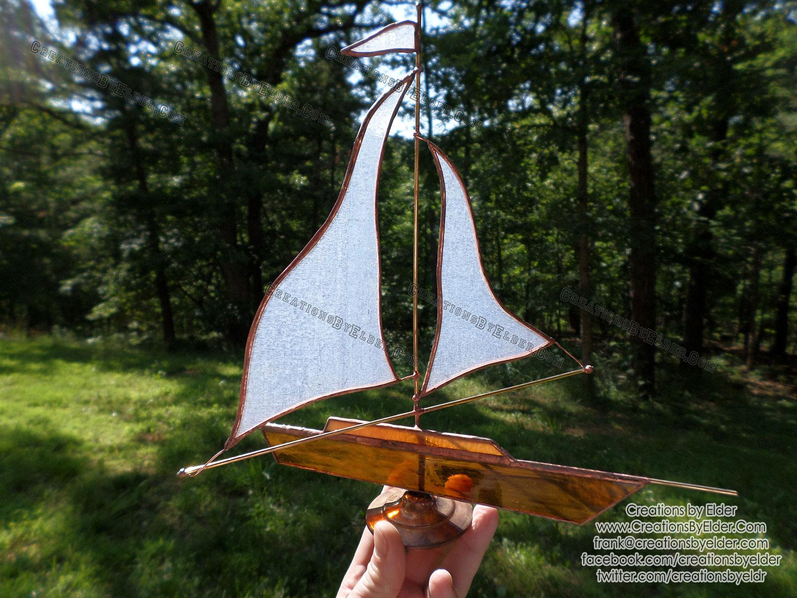 sailboat sculpture art glass desk free standing