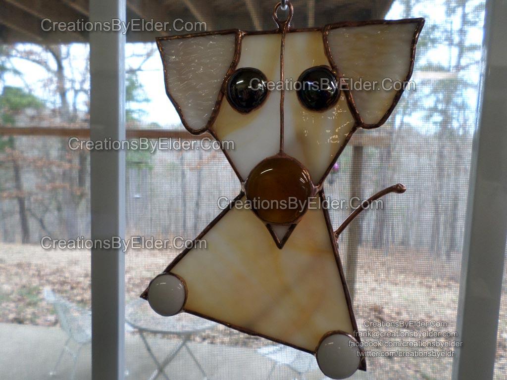 stained glass copper foil suncatcher puppy puppies sg pupz