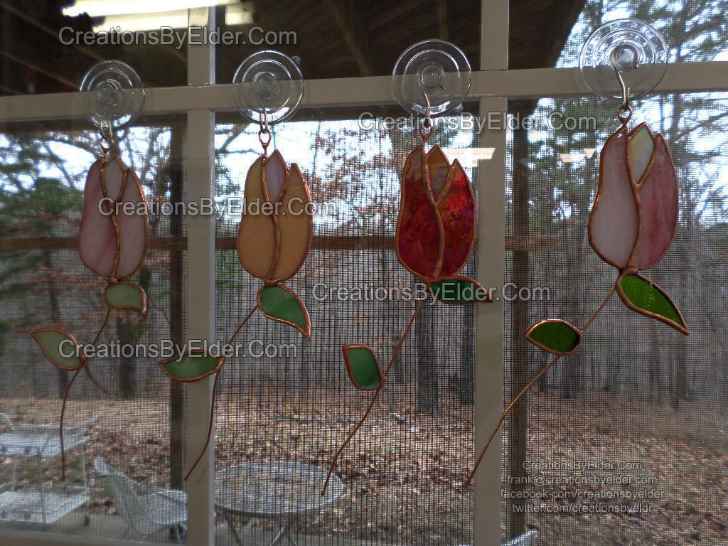 stained glass sg rose budz buds suncatcher