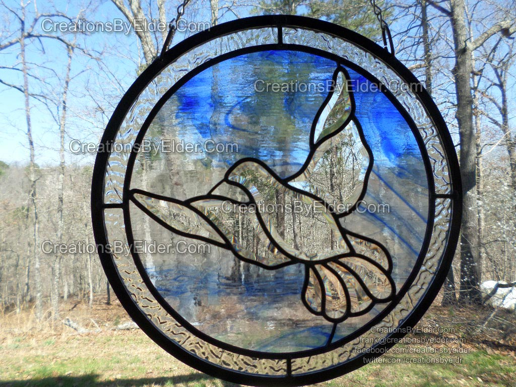 dove stained leaded glass memorial panel