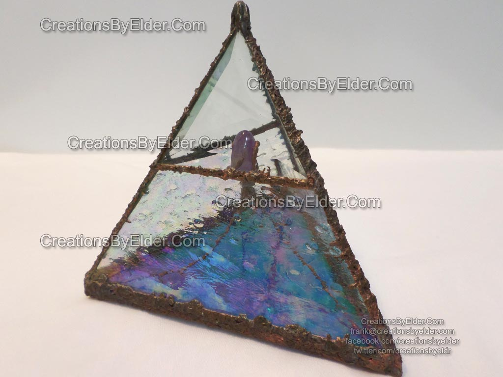 pyramid sculpture glass art arkansas quartz amethyst polished iridized healing