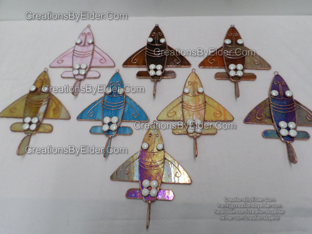 sg ancient airplanez airplane stained glass art suncatcher saqqara egypt dr. khalil messiha egyptian precolombian central south america gold trinket zoomorphic reversedihedral wing
