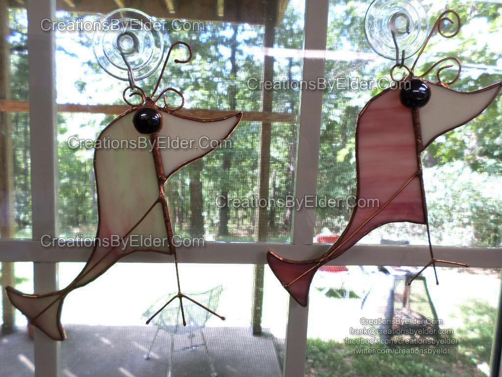 stained glass art suncatcher silly birdz birds
