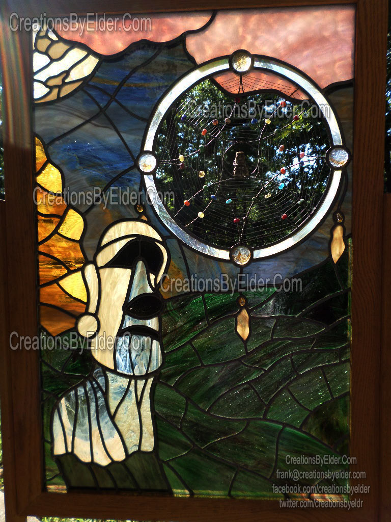 dreaming in glass #2 stained leaded art glass panel full sized moai dreamcatcher easter island unique one of a kind