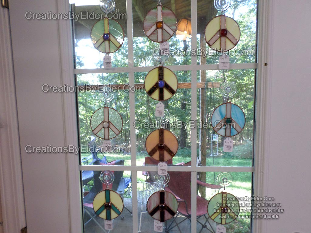 stained glass suncatcher sun catcher peace sign sg peace signz