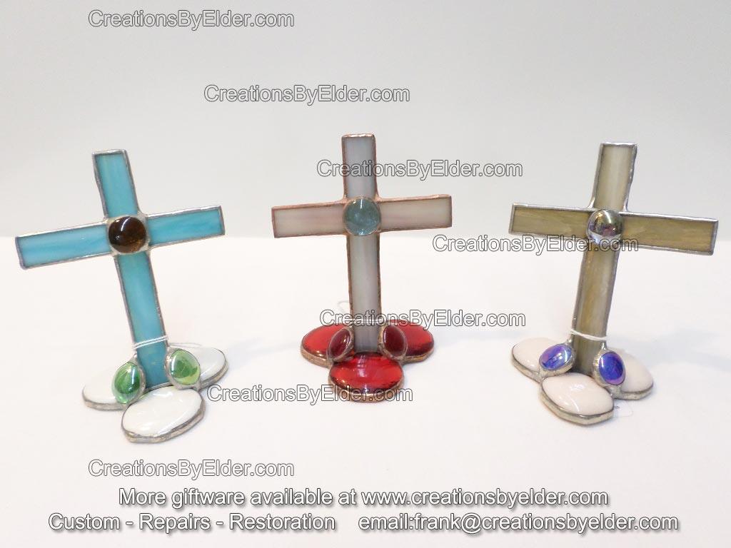 stained art glass cross freestanding