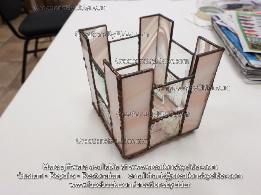 peach beveled iridized glass candle holder gift unique one of a kind art arkansas oklahoma