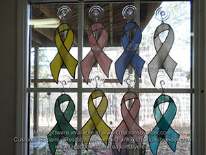 stained glass sg ribbonz cancer ribbons charitable suncatcher sun catcher